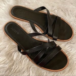 Jcrew Sz 11 Black Leather Sandals Slides